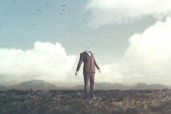 surreal man and nature concept