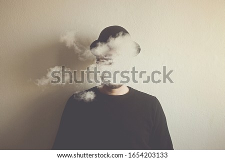 surreal man head in the clouds, abstract concept