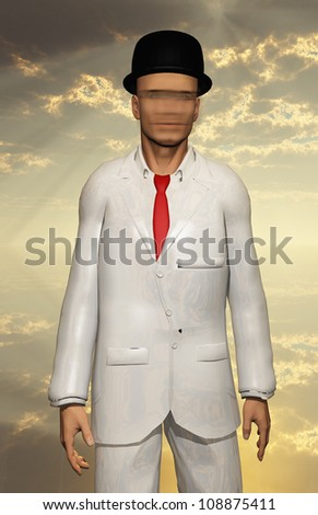 Surreal Man in white suit with blurred face