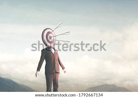 surreal man with target on head hit by arrows from sky, targeting concept Stock photo ©