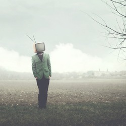 surreal man with television on his head, abstract concept