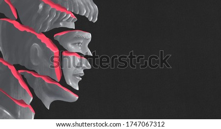 Surreal painting of broken man , emotion depression sad alone and sorrow concept. portrait artwork, psychology illustration