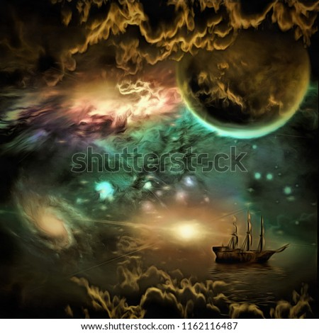 Stock Photo Surreal painting. Sailing ship in vivid universe. 3D rendering