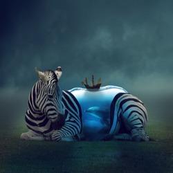 surreal photomanipulation of a zebra
