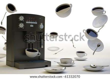 Surreal picture of coffee cups in zero gravity