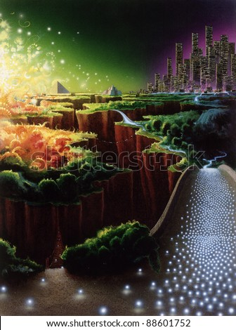 surreal picture painted by me, named Evoloution of Civilisation. It shows symbolic development of ancient and contemporary cultures in mystic ambiance - stock photo