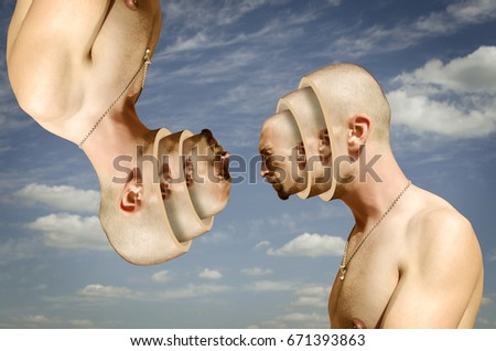 Stock Photo Surreal portrait. Human head divided on several parts.