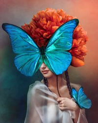 Surreal portrait of a woman with butterflies and peony flower. Interior photo art in art deco style. Beautiful surrealistic art picture with blue, orange, green color. Mixed media.