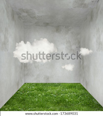 Surreal room with grass on the floor and three clouds inside