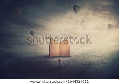 Surreal scene, imaginary world, tiny man stands in front of a giant opened book with empty blank pages. Education concept, the magic and fantasy of a story teller. Knowledge and wisdom symbol. Photo stock ©