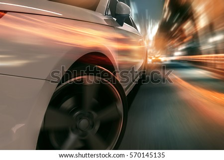 Surreal scene of a speeding car in the city