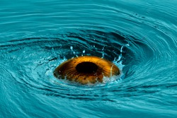 Surreal scene with huge brown eye ball in turquoise sea water vortex surrounded with drops and splashes. The eye of Neptune - the god of water and of the sea