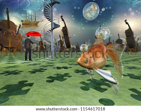 Surreal scene with various elements, gold fish, cello man with red umbrella. 3D rendering Stockfoto ©