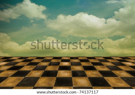 Surreal setting/background with old worn tiles and cloudscape