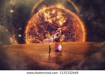 Surreal space view as a girl silhouette in front of a big mirror door on a imaginery planet. Cosmic teleportation technology and a mystic hand over exploding quasar background. Light speed journey .  #1135332668