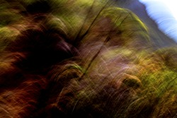 Surreal, steep mountainside pattern in gentle, natural tones - abstract, motion-blurred background texture