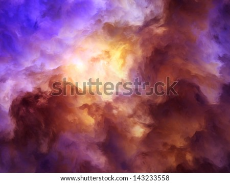 Surreal, storm clouds shading from dark purples and reds to oranges and yellows symbolizing a range of concepts such as creation, the birth of stars, or an ominous maelstrom.