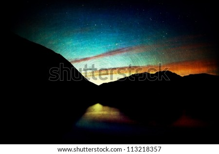 Surreal sunset with texture layers for an artistic look