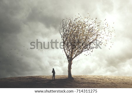 Surreal tree in autumn foliage #714311275