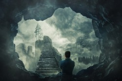 Surreal view as a man escape from a dark cave stand in front of a mystic stairway crossing the misty abyss going up to unknown paradise. Opportunity staircase, exit way to success, freedom concept.