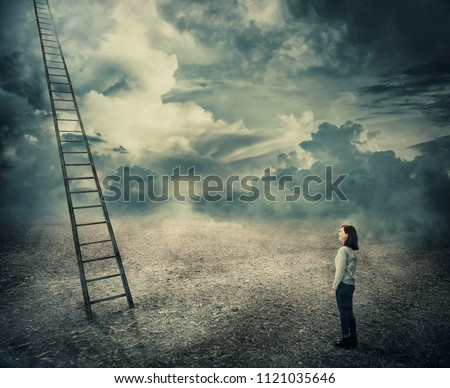 Surreal view of a thoughtful woman looking at a huge ladder going up to the sky, reaching the clouds. Opportunity stairway to unknown paradise, way to success symbol. Career development concept.