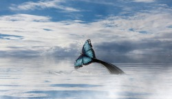 Surreal visionary view of a wale tale that turns into a butterfly, rough sea and cloudy sky, freedom concept, imaginary art