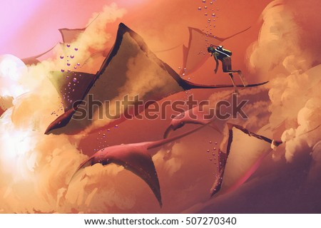 surreal world concept showing diver and manta rays flying in the cloudy sky,illustration painting