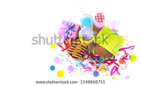 Surrealism Banner Festive composition drinks snacks holiday hamburger cookie tinsel confetti gift box cocktail saturated colors. Children's holiday birthday party #1148868755