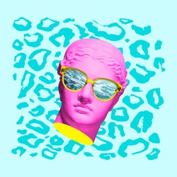 Surrealism. Modern conceptual artwork with ancient statue head in sun glasses isolated over colored background. Summer time. Collage of contemporary art. Fashion design.