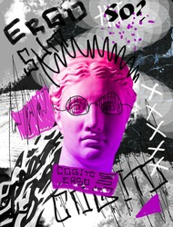 Surrealism. Modern conceptual artwork with ancient statue head isolated over colored background. Grey, bright pink. Collage of contemporary art. Fashion design.