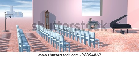 Surrealistic concert room with a piano, chairs, fire place and clock - stock photo