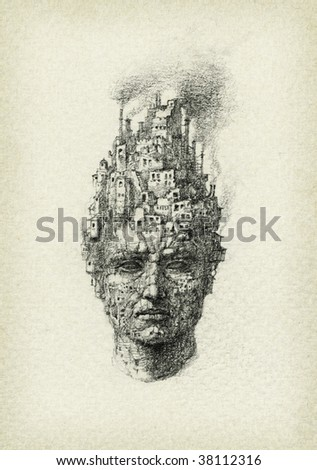 Surrealistic head, drawn with pencil on paper.