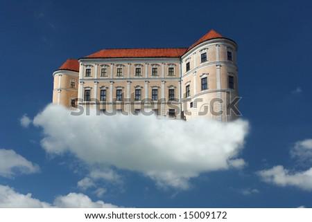 surrealistic image : a castle on a cloud
