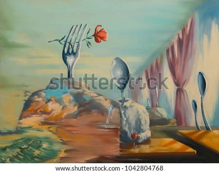 Surrealistic oil painting symbolizing a date.