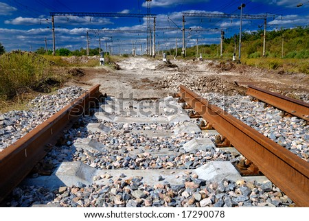 Surrealistic view of not completed railway