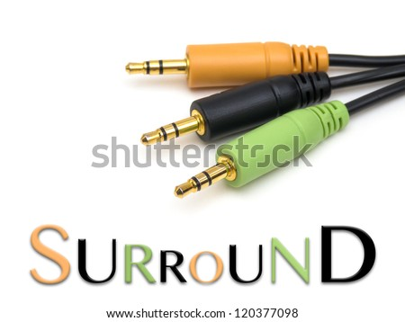 Surround sound cable on white with text - stock photo