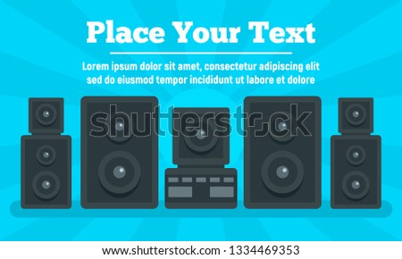 Surround stereo system concept banner. Flat illustration of surround stereo system concept banner for web design