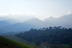 Surrounding hills and embankment of the banasura sagar dam in wayanad, Kerala, India. It is the largest earth dam in India and second largest in asia.