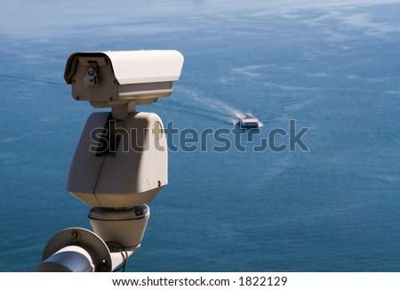 Surveillance Camera is watching  an approaching vessel.