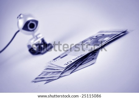 Surveillance camera monitoring the euro banknotes in blue
