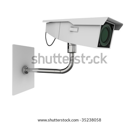 Surveillance camera viewed from the side. High quality 3d illustration, isolated on a white background.