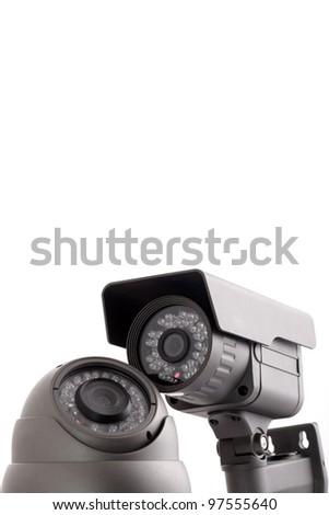 Surveillance cameras on white background