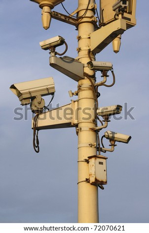 Surveillance cameras to monitor all directions at Tian'anmen Square, Beijing, China