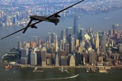 Surveillance drone on patrol over New York City, USA
