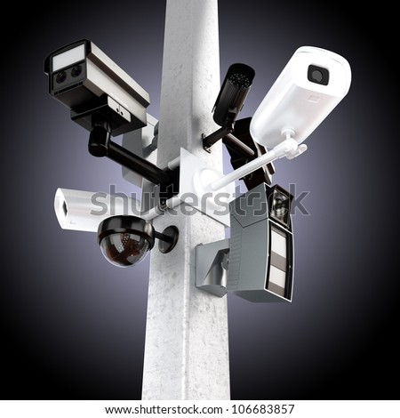 Surveillance mega camera's concept with a gradient background