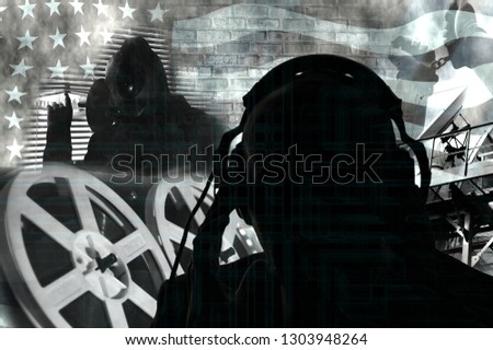 Surveillance of citizens, the secret service, special agents listening to the conversation,photo collage in contour lighting