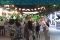 surveillance tracking people to protect their health and social behavior. Big data monitoring motion profile concept.