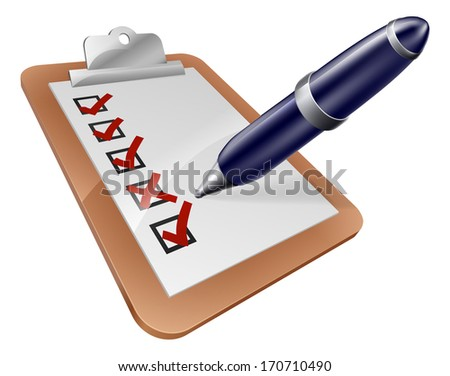 Survey clipboard and cartoon pen ticking or crossing boxes on a survey or other form