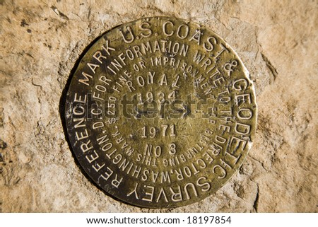 Survey Marker found on the Grand Canyon North Rim at  Cape Royal, Arizona.