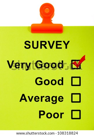 Survey On Clipboard Shows Very Good Rating